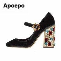 Apoepo красный черный бархатные туфли лодочки в стиле ретро с круглым носком Туфли Мэри Джейн Алмаз Декор на квадратном каблуке Обувь на высок