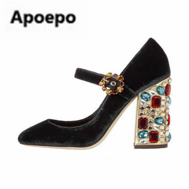 Apoepo red black Velvet pumps retro round toe mary janes shoes diamond decor square heels high heels pumps women wedding shoes цена 2017