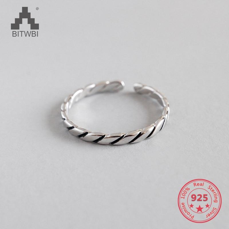 100% Echt 925 Sterling Silber Schmuck Thai Silber Ring Für Männer Frauen Schmuck Diagonal Öffnung Ring Gut FüR Antipyretika Und Hals-Schnuller
