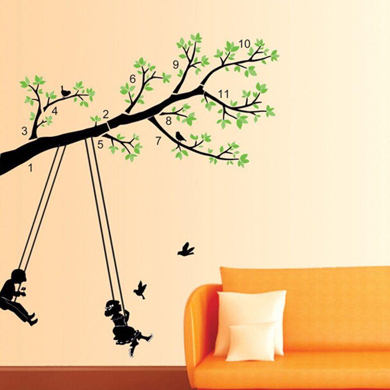 Cartoon Boy And Girl Swing On The Tree Wall Decal Sticker Home Decor ...