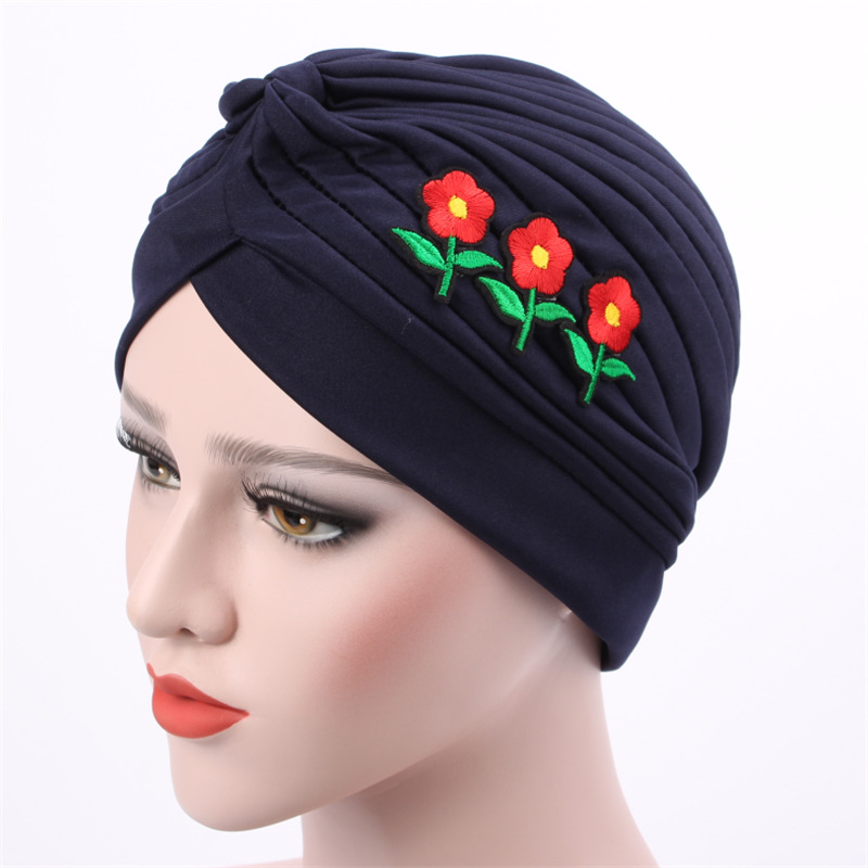 Warm Retro Rose Caps For Ladies New Womens vintage turban Head Wrap headband women 3D Rose flower hat Indian Turban Hats