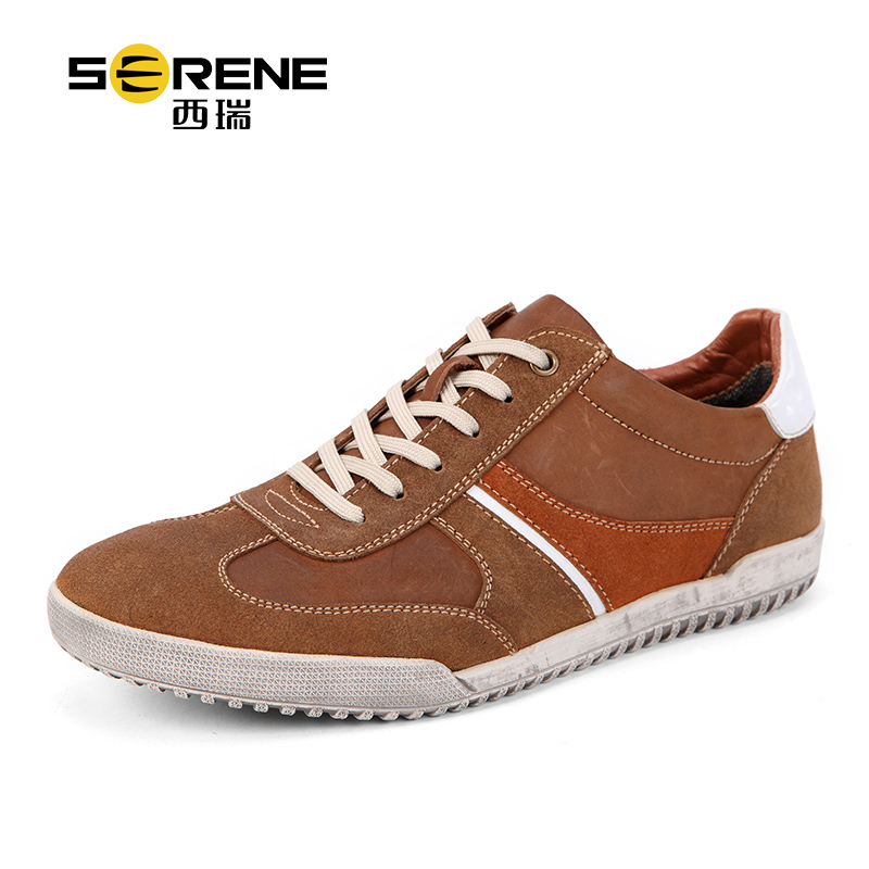 SERENE 2017 Men Shoes Male Casual Shoes Big Size 39-46 Cow Leather Spring Autumn Lace-up Breathable flat Shoes men canvas shoes 2017 spring autumn hot sale men s fashion splicing lace up casual male breathable flat shoes size 39 44
