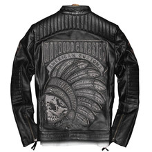 2019 Black Men's Biker Leather Jacket Skulls Embroidery Plus Size 3XL Genuine Cowhide Slim Motorcycle Leather Coat FREE SHIPPING(China)