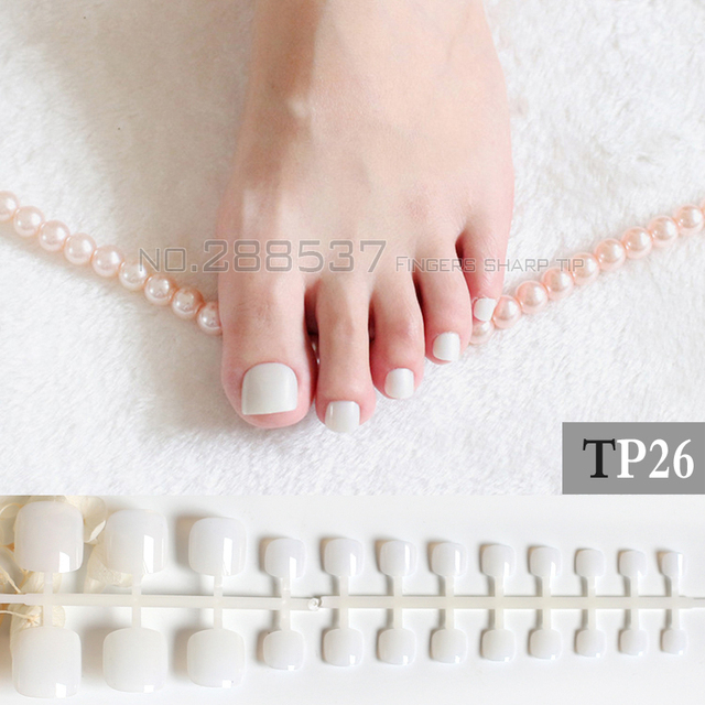 24 Pcs Artificial candy Nails Jade white Sticker Natural Acrylic ...