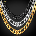 U7 Gold Plated Men Necklace Jewelry Wholesale Stainless Steel 5 Sizes 5MM Trendy Long Figaro Chain Necklace N141