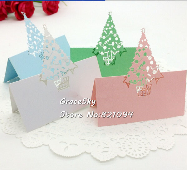 50  free shipping laser cut christmas day party invitation seat name cards table cards santa