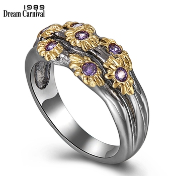 DreamCarnival 1989 Neo-Gothic Rings Women Wedding Band Golden Color Flowers with Purple Zircon Fashion Jewlery Wholesale WA11638