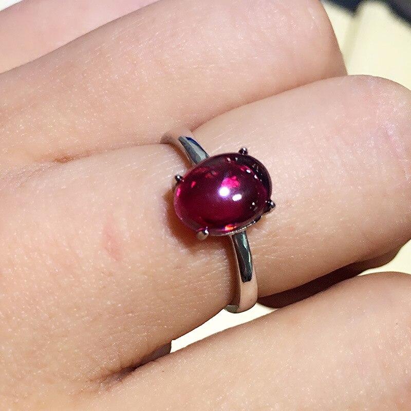 Одноцветное Серебро 925 тонкая полоска натуральный красный камень гранат Кольца Для женщин Простой Краткая Стиль 100% стерлингового серебра ...