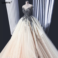 Real Photo Ball Gown Evening Dress Abendkleider 2018 Prom Appliques Beading Sleeveless Party Dress Long Customized