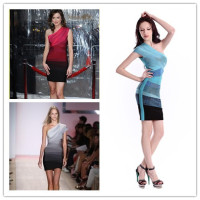 2013 New Style 3 Gradient Colours Ladies HL Bandage Dress One Shoulder Sexy Mini Dress Evening