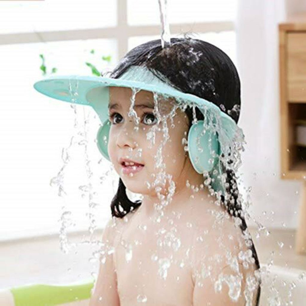 Baby Bathroom Safety Visor Cap Child Shower Cap Adjustable Soft Protect Bathroom Accessories