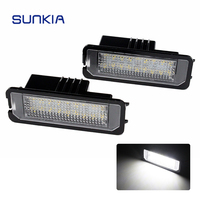 2pcs Set SUNKIA Canbus Car LED License Plate Lights Lamp 12V No Error White 6000k For
