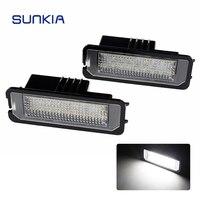 2pcs Set SUNKIA Canbus Car LED License Plate Lights Lamp 12V No Error White 6000k For