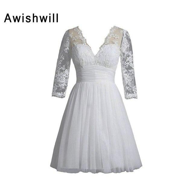 2019 Elegant Little White Dress V neck 3/4 Sleeve Knee Length Custom ...