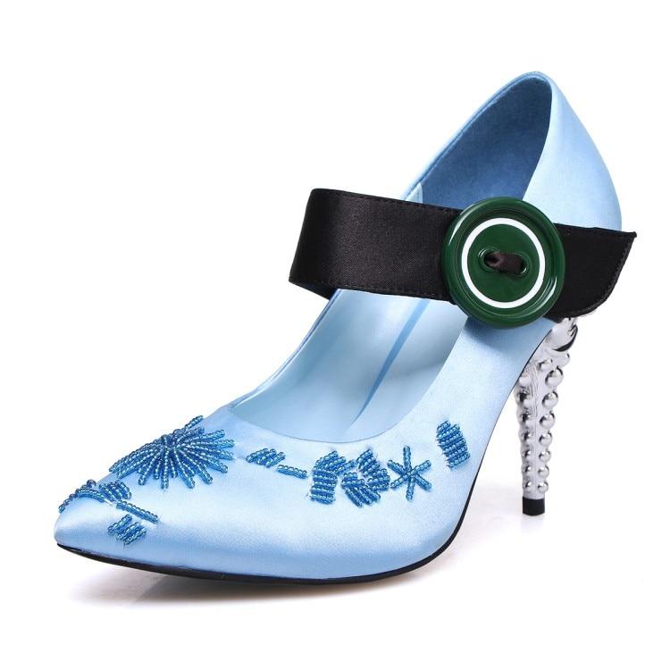 new arrival Satin high heels pumps strange heels high heels Mary janes shoes Handmade string bead stiletto heel ladies shoes phoentin crystal flower mary janes women pumps shoes strange high heels 10cm hook