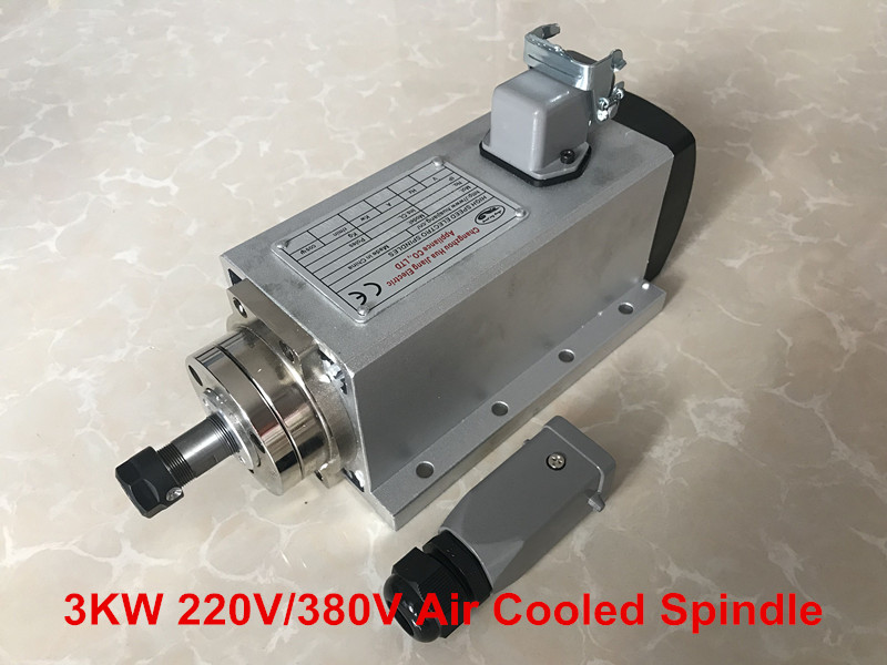 2018 3KW Air Cooled Spindle Motor 220V 380V CNC Spindle Milling Motor ER20 Four Bearings For Engraving Machine Tools high quality 220v 3 kw cnc air cooled square spindle motor er20 4 beaings for cnc wood working engraving milling machine