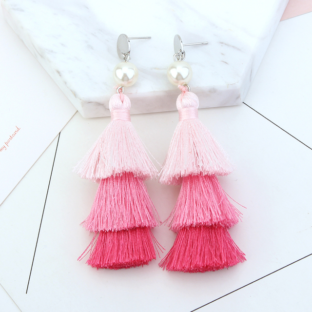 Pink Silk Tel Earrings Korean Fashion Jewelry For Women Banquet Party Dangle Asian