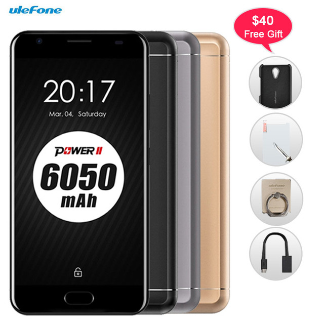 4G Original Ulefone Power 2 4GB/64GB 6050mah Front Fingerprint Scanner 5.5 inch Android 7.0 MTK6750T Octa-core up to 1.5GHz OTG