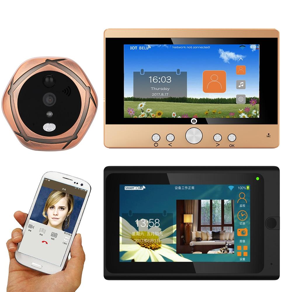 "MOUNTAINONE SY501706B12 720P WiFi Wireless Digital Peephole Door Viewer 5"" Front Door Peephole Camera Wifi Doorbell"