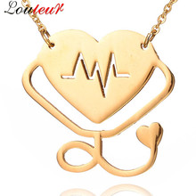 Louleur 2017 New Love Heart Stethoscope Necklace Pendant for Women Rose Gold Color Stainless Steel Medical Stethoscope Necklaces