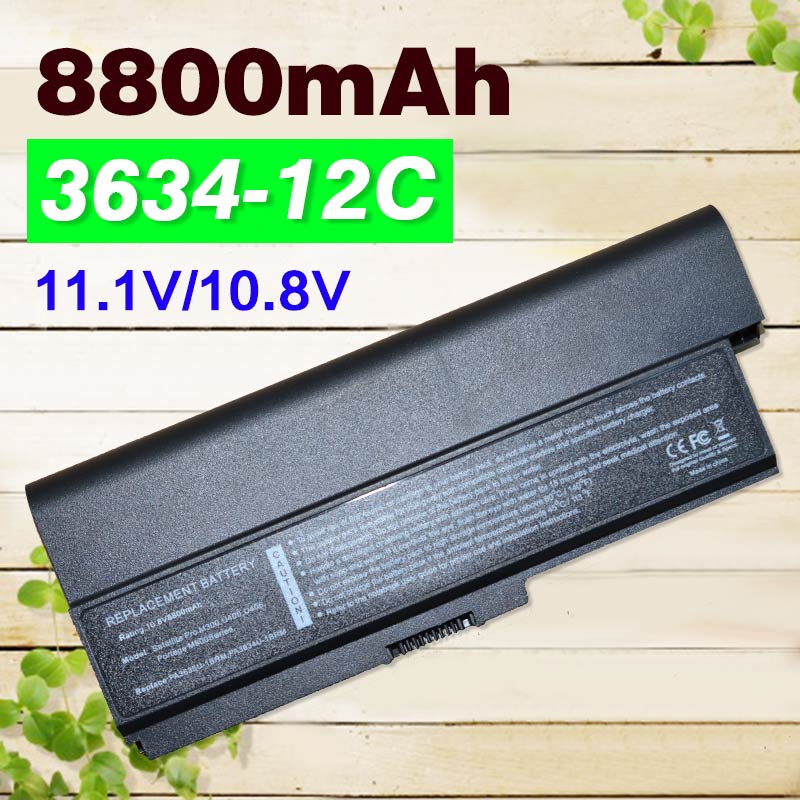 12 cells 8800mah Laptop Battery PA3634 For Toshiba Satellite Pro 3000 C650 C660 L510 L600 L630 L640 L650 L670 M300 T130 U400 цена