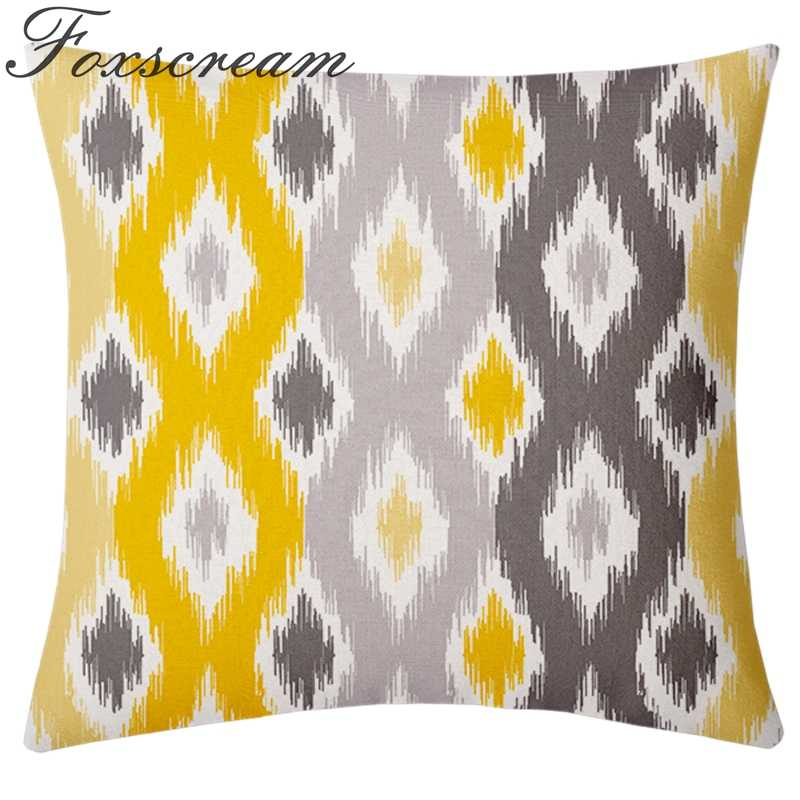 Nordic Style Decorative Pillows Covers Blue Geometric Cushion Cover Home Decor Velvet Throw Yellow Pillowcase