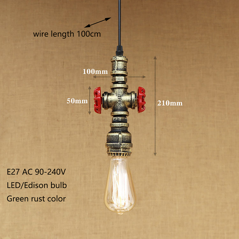 Vintage pendant lamp cord E27 led lights 4 style loft industrial iron water pipe steam punk for personalized bar restaurant cafe