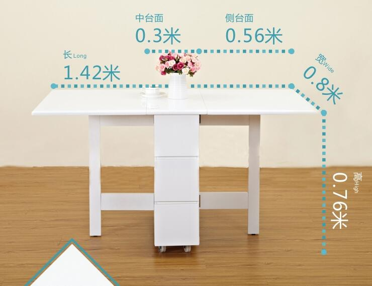 Fold table with drawer to receive simple dining table