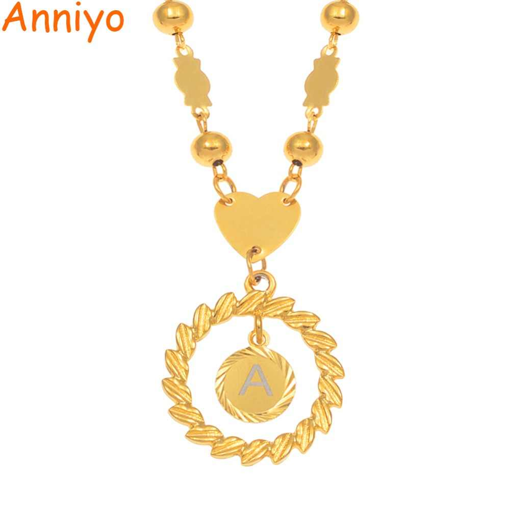 Anniyo A-Z Letters Charm Pendant Necklaces Women Girls English Initial Alphabet Ball Bead Chains Marshall Hawaii Jewelry#169706