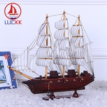 LUCKK 33CM Handmade Wooden Model Ships Vintage Red Home Decoration Room Sea Wood Crafts Statue Toys Sailing Party Souvenir