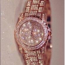 2016 moda Rhinestone lleno de oro rosa reloj de cuarzo del reloj reloj relojes Montre Femme vestido de pulsera Horloges Vrouwen