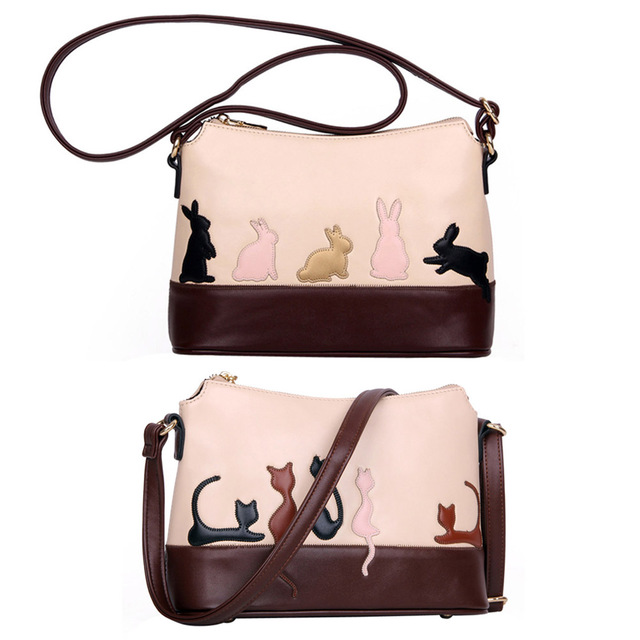 4ba5f84e6356 Creative Lovely Animal Design Handbags Messenger Bags Womens Cat Rabbit  Pattern PU Leather Shoulder Bag Designer Bolsa Feminina