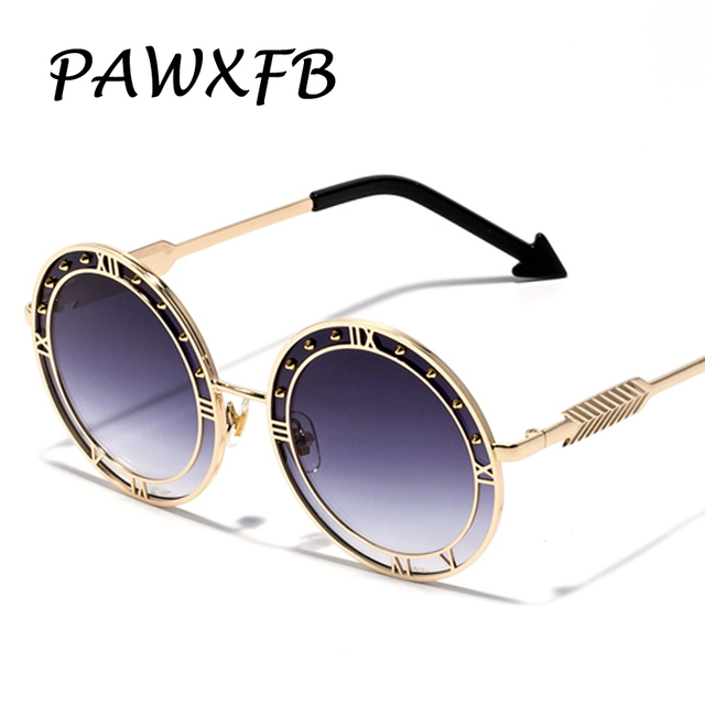2f32608f93a Pop Age 2018 New Luxury Italy Brand Designer Round Sunglasses Women Men  Retro Arrow Sun Glasses