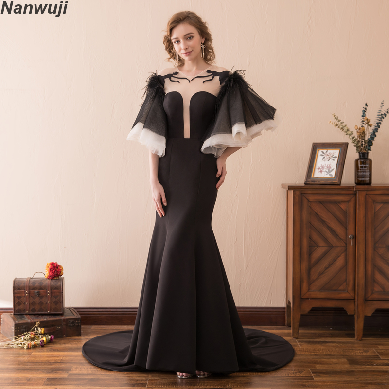 Real Photo O-neck Mermaid Evening Dress Bats sleeves Luxury Slim Cap Sleeve Prom Dresses  Backless Crystal Size Plus size