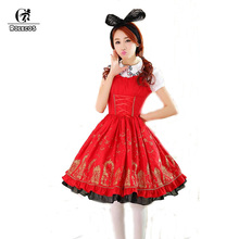 ROLECOS 2017 New Sale Cotton Black Red Blue White Sweet and Elegant Lolita Princess Dress for Women in Summer