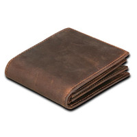 Crazy Horse Leisure Men Wallets Genuine Leather Wallet Cowhide Cion Purse Card Holder Pocket