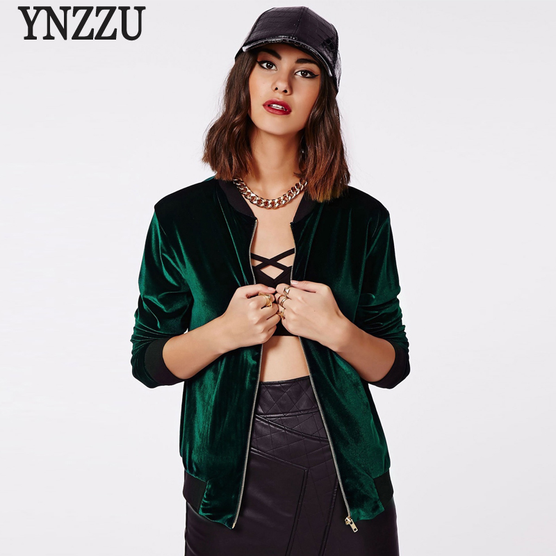 YNZZU 2017 New Biker Bomber Jacket Women Stand Collar Zipper Pockets Red Coats Vintage Velvet Casual Female Pilot Jacket YO198