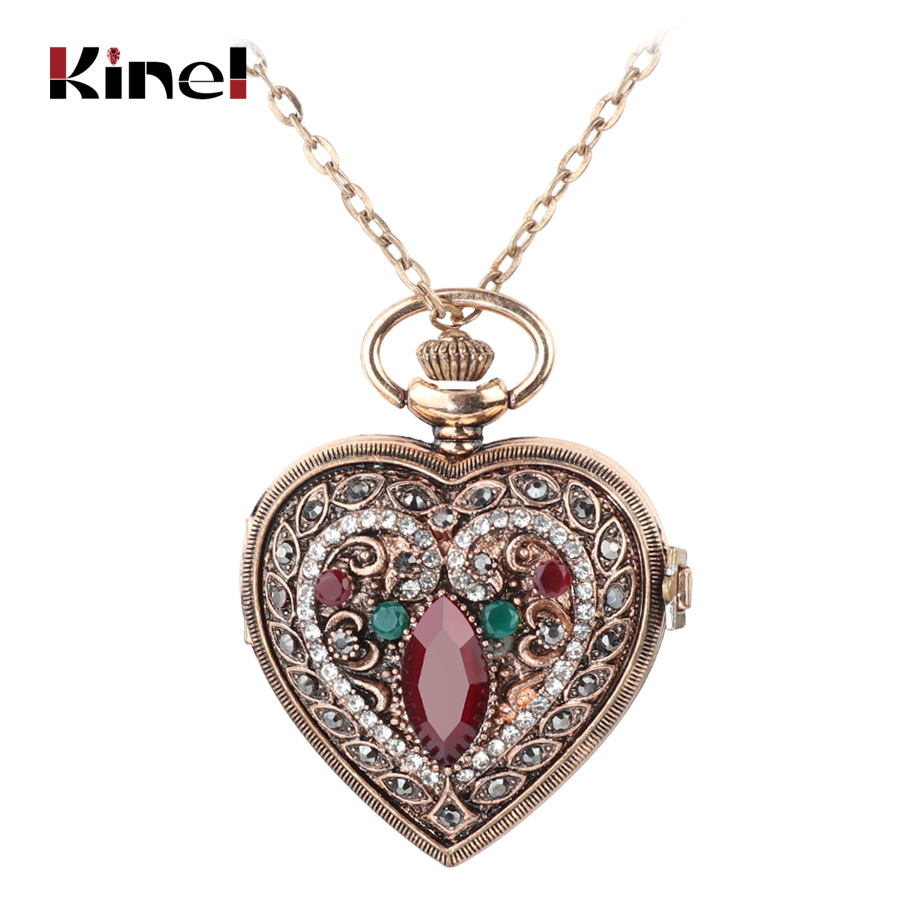 где купить Kinel Turkish Pendant Necklace Love Heart Red Pocket Watches For Women Sweater Vintage Bronze Quartz Pocket Watch Necklaces по лучшей цене