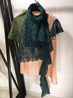 2019 новые женские модные с короткими рукавами кружева Нерегулярные Повседневные Блузка 0410