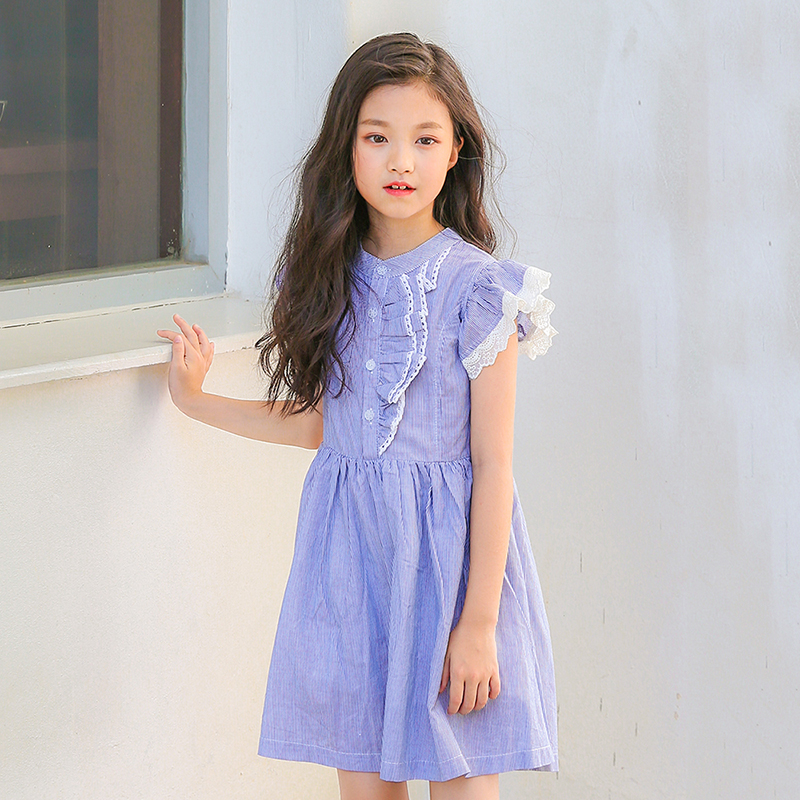 little girls dress baby summer cotton school shirts dress kids lace striped princess girl dresses teen girls clothing 2018 new clearance baby dresses princess girls dress 2 5years cotton clothing dress summer clothes for girl