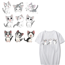 Cartoon Cat Patch Heat Transfer Vinyl Washable Stickers for Kids Clothing DIY T-shirt Applique Iron-on Transfers Thermal Press parches cartoon cat heat transfer vinyl for t shirts iron on transfers patches for clothing thermal transfer sticker washable e