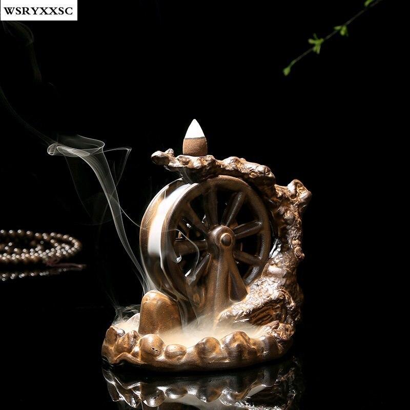 Водяное Колесо назад дыма Ладан горелки, выпустив ремесла, Йога, буддийские медитация поставки, дома Аксессуары, Украшения