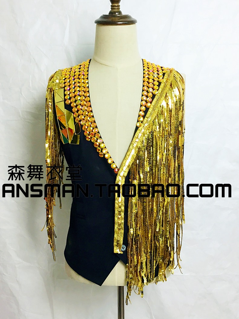 2015 New fashion Mens Tassel mix matched Vest Costumes male ds beyonc costume for singer dancer in nightclub