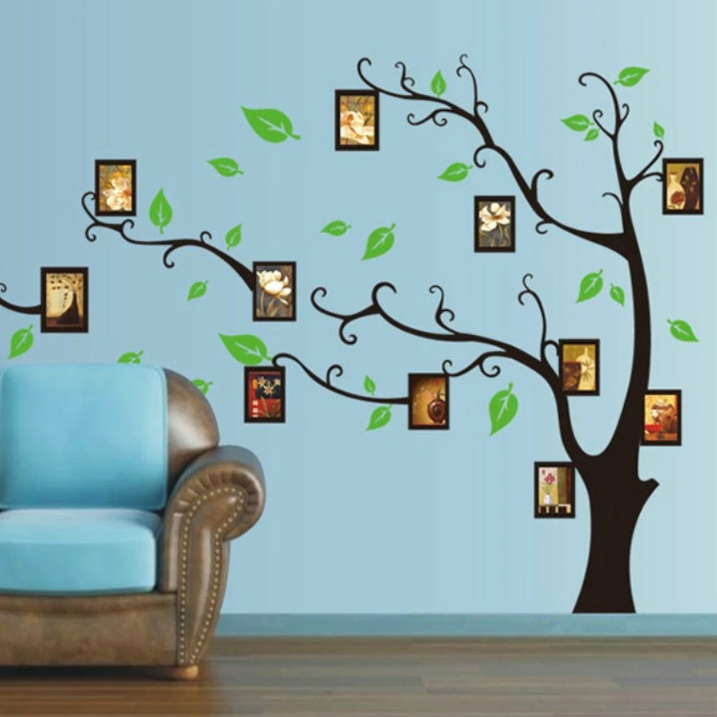 Black Tree With Green Leaf Wall Stickers Vinyl Decal Mural Home Decor Removable