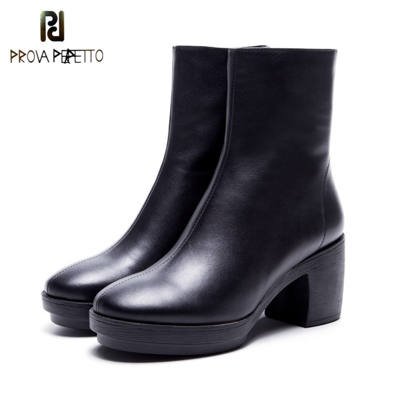 Prova Perfetto Classics Design Genuine Leather Solid Black High Heels Martin Boot Comfort Flange Thick Heel Round Toe Mid Boots prova perfetto red color punk style genuine leather thick bottom woman mid boots solid round toe low heel rivet martin boots