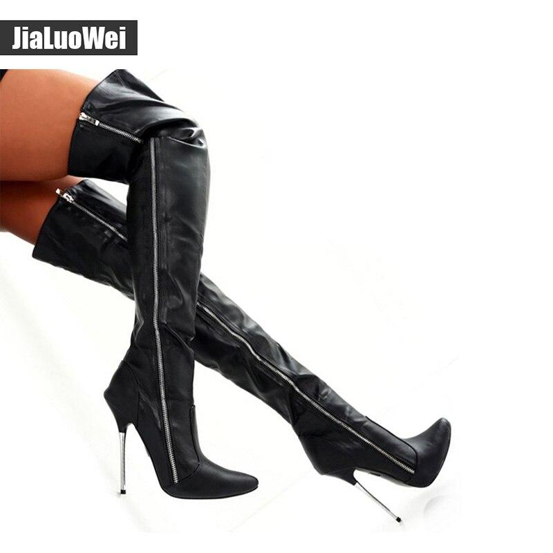 € 93.66 |Jialuowei extrême talon haut 12 cm bottes sur le genou noir mat cuissardes bottes sexe fétiche bout pointu chaussures à entrejambe in