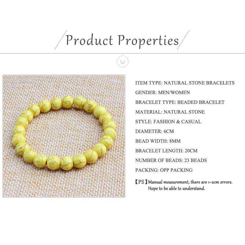Trendy Yellow Natural Stone Beads Charm Bracelets & Bangles for Women Round Beaded Strand Bracelet Men Jewelry Pulseira Feminina 5