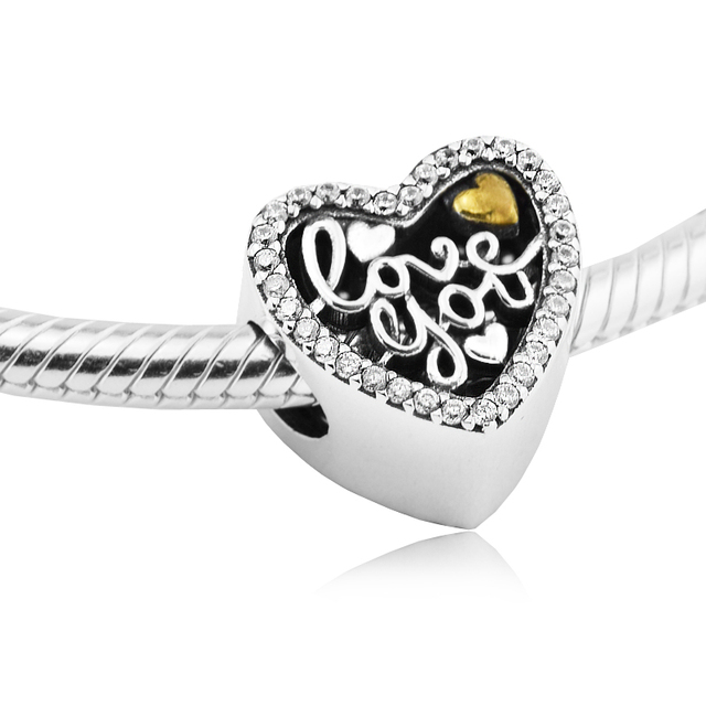 df417f71b Fits For Pandora Bracelets Love Script Charms with 14K Gold Plated 100%  Sterling Silver Beads Free Shipping