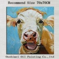 Kunstenaar Pure handgeschilderde Hoge Kwaliteit Moderne Melkvee Olieverfschilderij Grappig Dier Lachend Canvas Schilderij