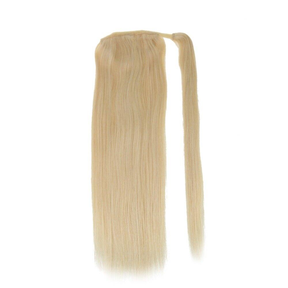 Полный блеск Человеческие волосы хвост Расширения, Цвет #613 желтый блондин 100 г 100% remy Человеческие волосы хвост Расширения